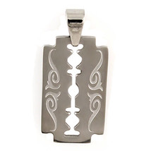 Razor Blade Hip Hop Pendant with Tribal Markings Fully Reversible 316L Steel - $14.00