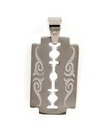 Razor Blade Hip Hop Pendant with Tribal Markings Fully Reversible 316L S... - $14.00
