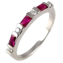 Ruby & Russian CZ Stackable Band Ring 925 Silver s 5 - $28.00