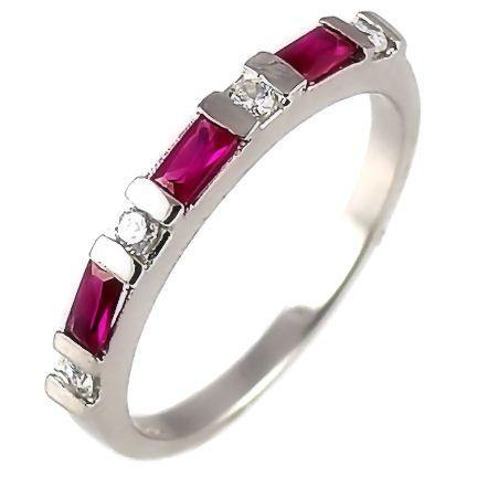 Ruby & Russian CZ Stackable Band Ring 925 Silver s 6
