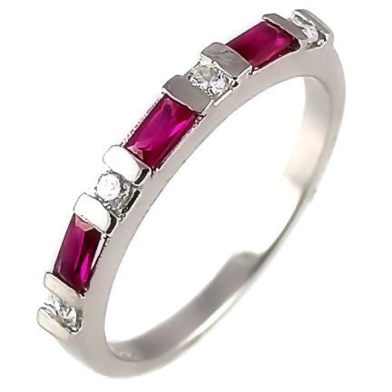 Ruby & Russian CZ Stackable Band Ring 925 Silver s 9