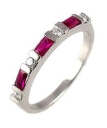 Ruby & Russian CZ Stackable Band Ring 925 Silver sz 10 - $28.00