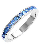 Stackable 1.5mm Blue Topaz CZ Eternity Band Ring sz 11 - $24.00
