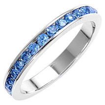 Stackable 1.5mm Blue Topaz CZ Eternity Band Ring sz 8 - $24.00