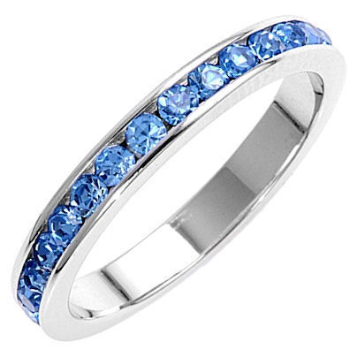 Stackable 1.5mm Blue Topaz CZ Eternity Band Ring sz 9