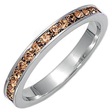 Stackable 1.5mm Champagne Ice CZ Eternity Band Ring 10