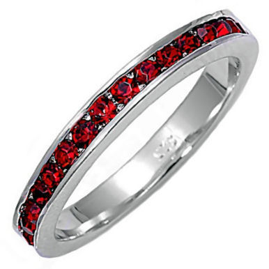 Stackable 1.5mm Garnet Ice CZ Eternity Band Ring sz 6
