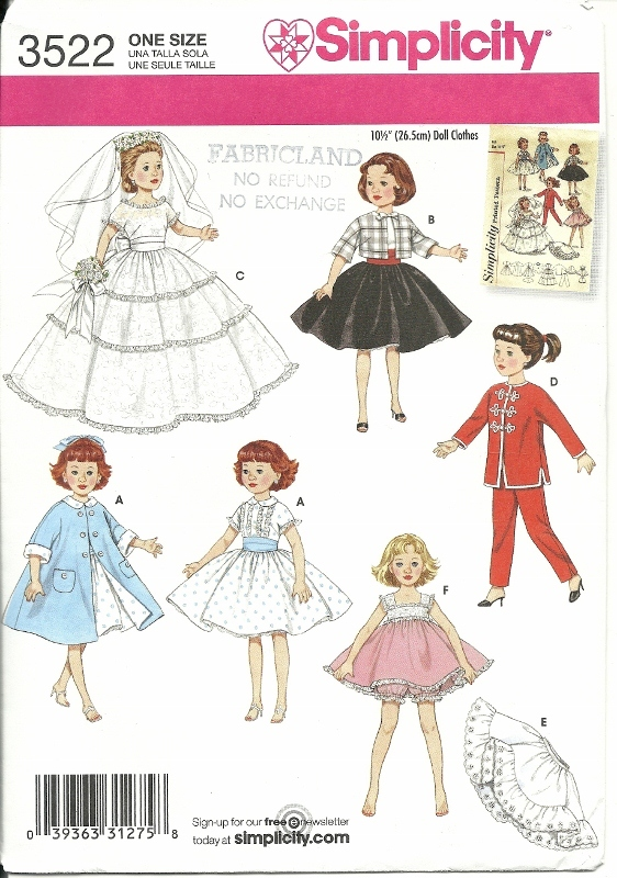 Doll Clothing Pattern Simplicity 3522 Retro 10.5 inch Ginger Little Miss Revlon Simplicity