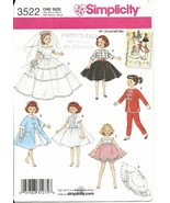 Doll Clothing Pattern Simplicity 3522 Retro 10.5 inch Ginger Little Miss... - $5.93