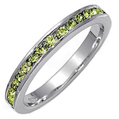 Stackable 1.5mm Peridot Ice CZ Eternity Band Ring sz 7