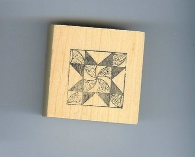 Quilt Block Pinwheel center Rubber Stamp
