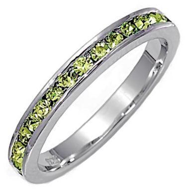 Stackable 1.5mm Peridot Ice CZ Eternity Band Ring sz 9