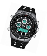 Men Big Face Sports Wrist Watch  Waterproof Military Black Silicone Band - $67.89+
