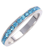 Stackable Blue Aquamarine Ice CZ Eternity Band Ring s 7 - $24.00