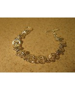 BRACELET SILVER PLATED CHAIN LINK CIRCLE TOGGLE... - $12.99