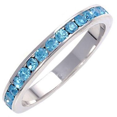 Stackable Blue Aquamarine Ice CZ Eternity Band Ring s10