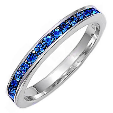 Stackable Blue Sapphire Ice CZ Eternity Band Ring s 7