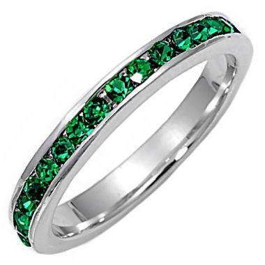 Stackable Green Emerald Ice CZ Eternity Band Ring s 4