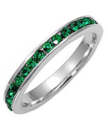 Stackable Green Emerald Ice CZ Eternity Band Ring s 5 - $24.00