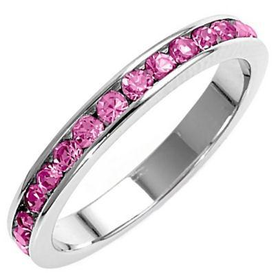 Stackable Pink Sapphire Ice CZ Eternity Band Ring sz 4
