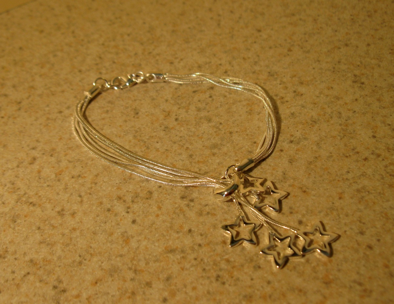 BRACELET SILVER PLATED SNAKE CHAIN STAR SLIDE #612