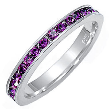 Stackable Purple Amethyst Ice CZ Eternity Band Ring s 6