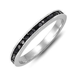 Stackable Russian Black Ice CZ Eternity Band Ring sz 9