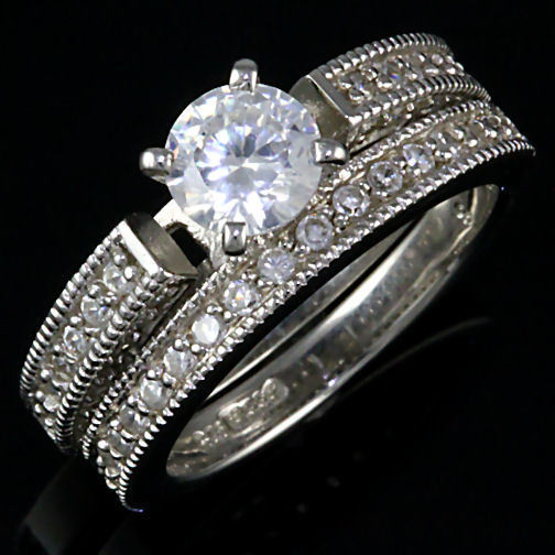 Stunning 2.4ct Russian Ice CZ Wedding Ring Set 925 SS 8