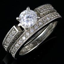Stunning 2.4ct Russian Ice CZ Wedding Ring Set 925 SS 8 - $63.00
