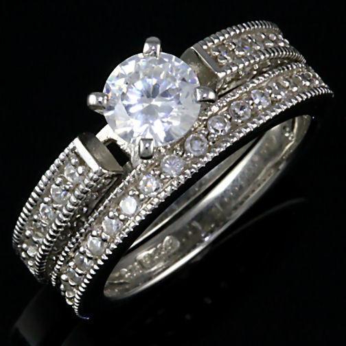 Stunning 2.4ct Russian Ice CZ Wedding Ring Set 925 SS 9