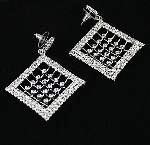Swarovski C Rhinestone Diamond Cage Drop Post Earrings