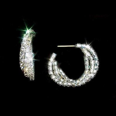 Swarovski Crystal Rhinestone Triple Hoop Twist Earrings
