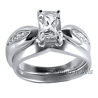 Two Tone Platinum Finish Russian CZ Wedding Ring Set 7