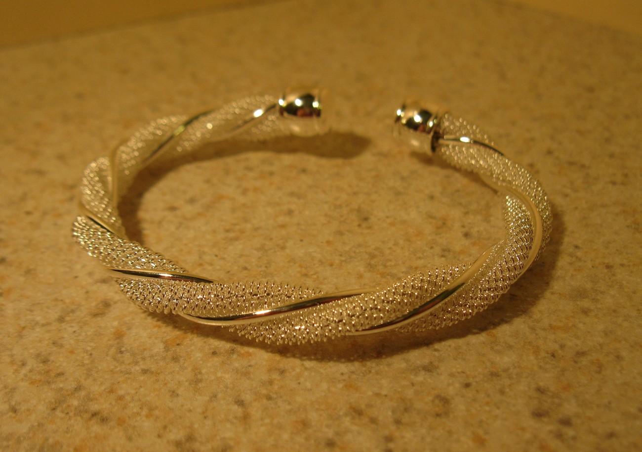 836 silver mesh braid cuff