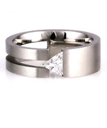 Womens 316L Steel Engagement Wedding Promise Band Ring Russian Ice CZ si... - $13.00