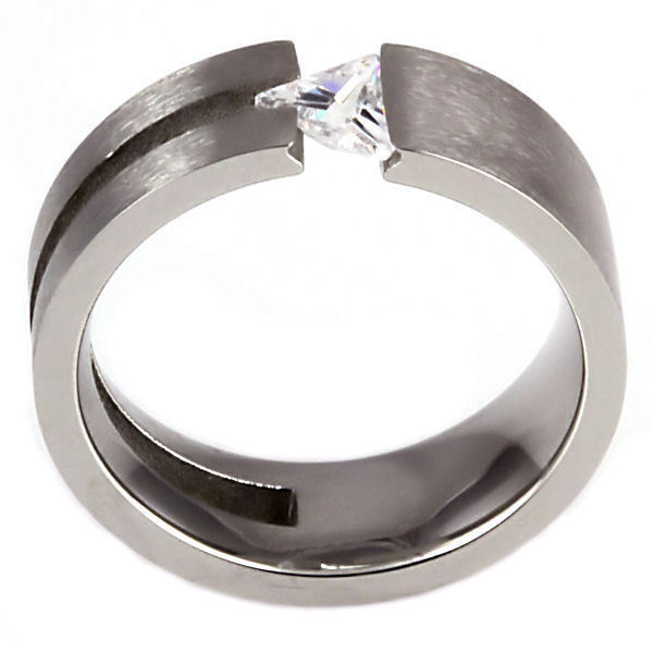 Womens 316L Steel Engagement Wedding Promise Band Ring Russian Ice CZ size 9