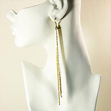 X Long 3 Stream Gold Shoulder Duster Fishhook Earrings