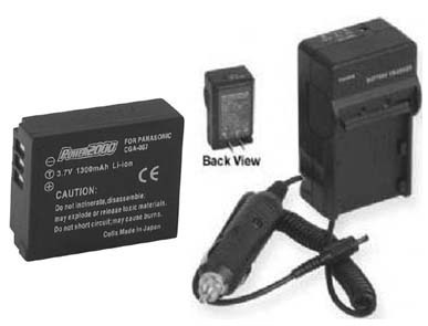 TWO CGA-S007A/1B CGA-S007E Batteries + Charger for Panasonic DMC-TZ1BK DMC-TZ1BS
