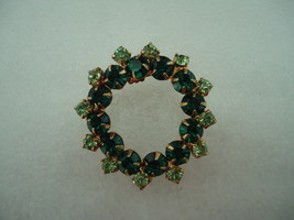 Vintage Two Tone Green Rhinestone Circle Pin  - $12.00