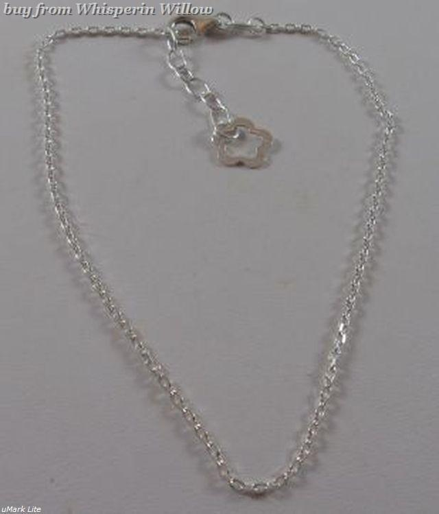 """9.5"""" + 1"""" Extension Sterling Silver Anklet with Flower End"""