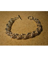 BRACELET SILVER PLATED CHAIN LINK TOGGLE New #662 - $13.99