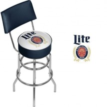 Miller Lite Bar Stool with Back Blue and White Officially Licensed Graphics - £163.53 GBP