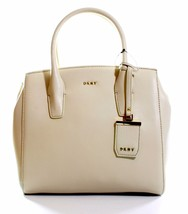 DKNY Donna Karan Sand Dollar Cream Leather Top Handle Bag Medium Handbag - $262.47