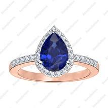 Wonderful Pear Blue Sapphire & Diamond 14k Rose Gp 925 Silver Wedding Ha... - £73.45 GBP