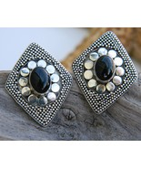 Vintage Sterling Silver Onyx Ornate Geometric S... - $34.95