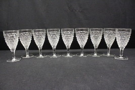 "Set of 9 Fostoria  Glass AMERICAN Clear Cube Cubist Water Goblets 7"" - $99.99"
