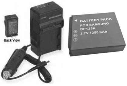 2 Batteries +Charger for Samsung HMX-M20BN HMX-M20BP HMX-M20BP/SEA HMX-M20BP/XEU
