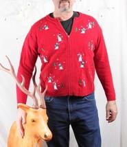 Croft & Barrow M size Christmas Sweater Snowball Fight Zip Front Batter Up! - $19.79