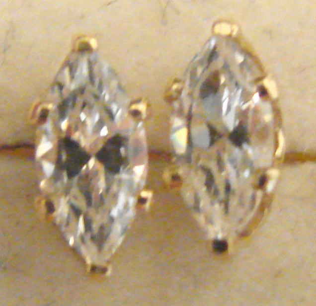 CZ MARQIUSE & GOLD STUD EARRINGS