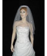 2 Tier Bridal Cut Edge Fingertip Swarovski Crystal Veil v15 - $21.99
